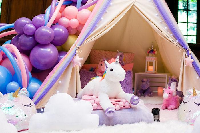 Unicorn Tent from a Rainbow Unicorn Birthday Party on Kara's Party Ideas | KarasPartyIdeas.com (57)