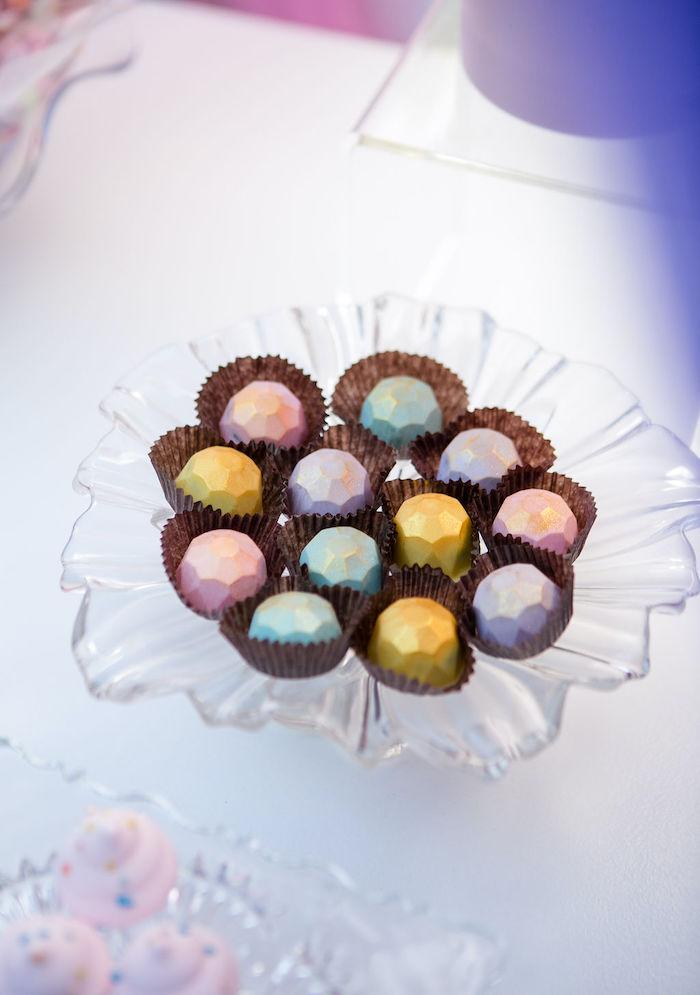 Jewel Chocolates from a Rainbow Unicorn Birthday Party on Kara's Party Ideas | KarasPartyIdeas.com (21)