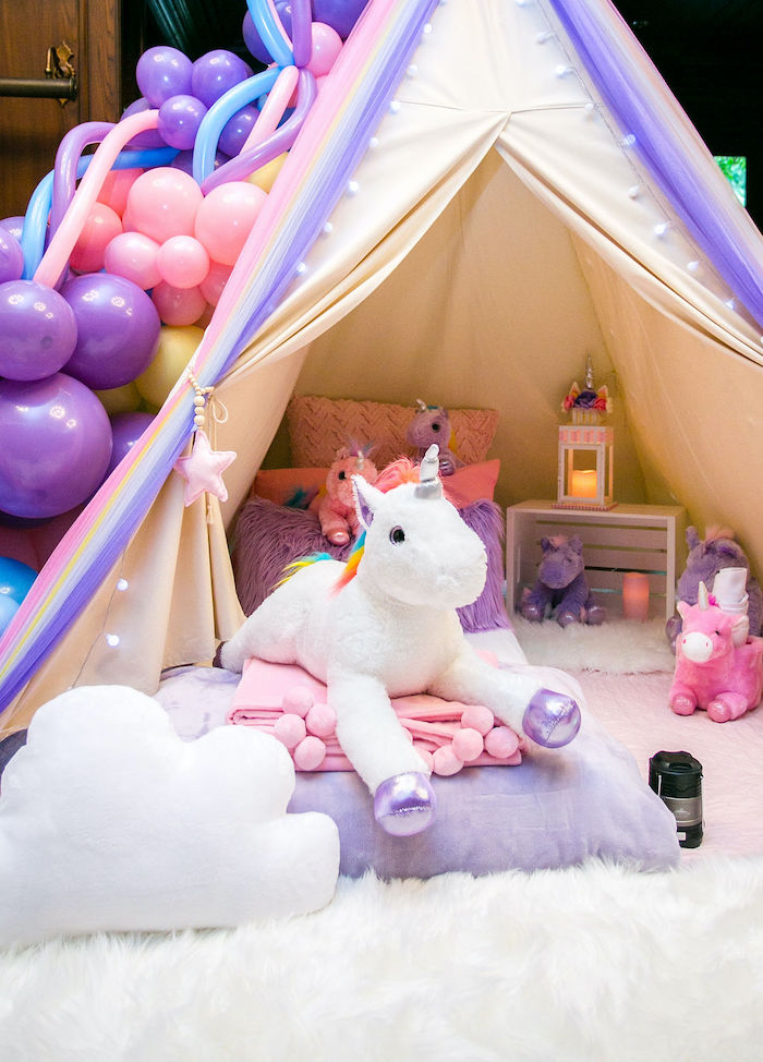 Unicorn Tent + Bed Roll from a Rainbow Unicorn Birthday Party on Kara's Party Ideas | KarasPartyIdeas.com (56)