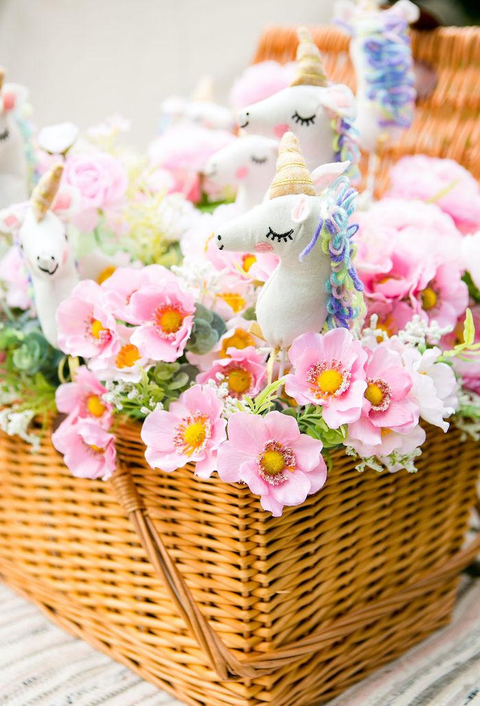 Unicorn Floral Basket from a Rainbow Unicorn Birthday Party on Kara's Party Ideas | KarasPartyIdeas.com (17)