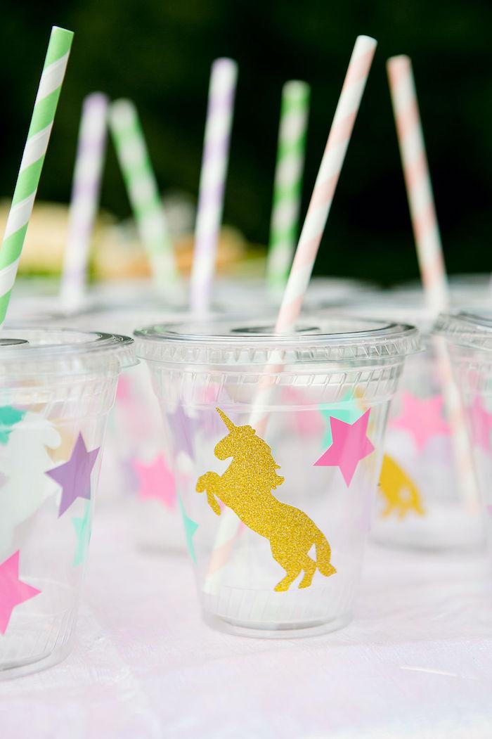 Unicorn Cups from a Rainbow Unicorn Birthday Party on Kara's Party Ideas | KarasPartyIdeas.com (15)