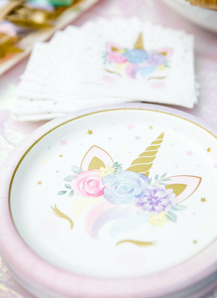 Unicorn Plates from a Rainbow Unicorn Birthday Party on Kara's Party Ideas | KarasPartyIdeas.com (14)