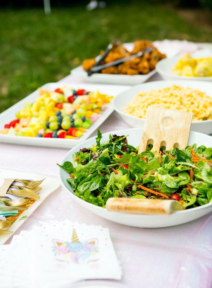 Food Table from a Rainbow Unicorn Birthday Party on Kara's Party Ideas | KarasPartyIdeas.com (13)