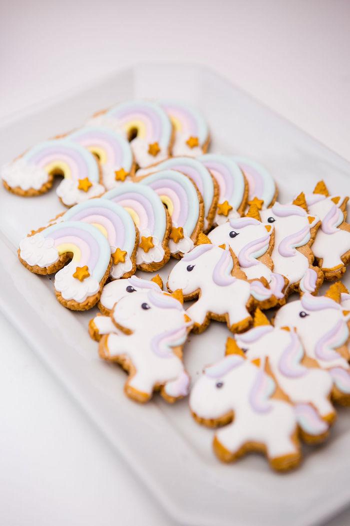 Unicorn + Rainbow Cookies from a Rainbow Unicorn Birthday Party on Kara's Party Ideas | KarasPartyIdeas.com (10)