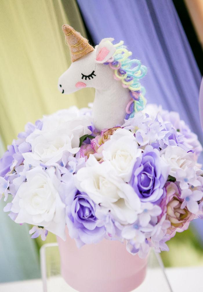 Unicorn Floral Arrangement from a Rainbow Unicorn Birthday Party on Kara's Party Ideas | KarasPartyIdeas.com (6)