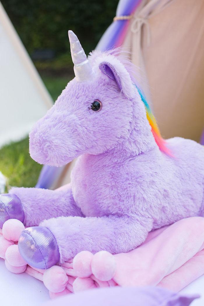 Plush Purple Unicorn from a Rainbow Unicorn Birthday Party on Kara's Party Ideas | KarasPartyIdeas.com (51)