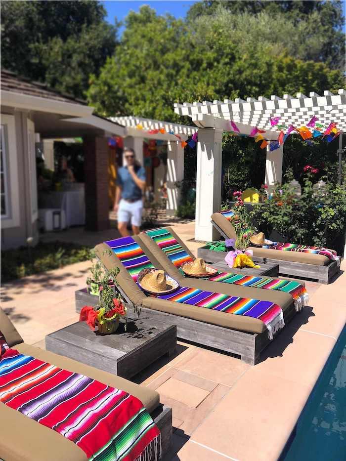 Fiesta Pool Chairs from a Three-esta 3rd Birthday Fiesta on Kara's Party Ideas | KarasPartyIdeas.com (37)