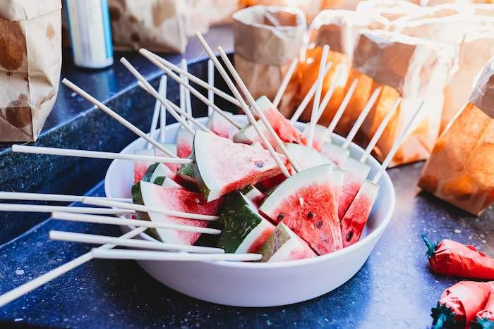 Watermelon Slices on a Stick from a Three-esta 3rd Birthday Fiesta on Kara's Party Ideas | KarasPartyIdeas.com (20)
