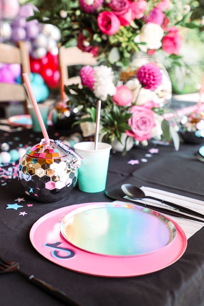 Iridescent Table Setting from a TikTok Teen Birthday Party on Kara's Party Ideas | KarasPartyIdeas.com (23)