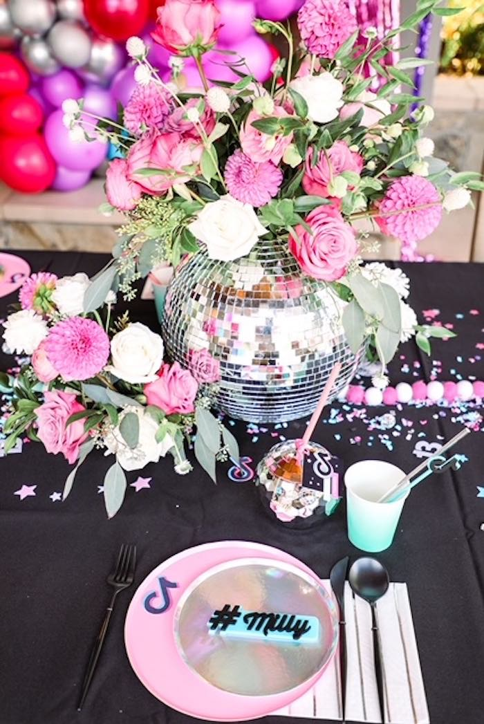 Disco Ball Floral Arrangement + Guest Table from a TikTok Teen Birthday Party on Kara's Party Ideas | KarasPartyIdeas.com (21)