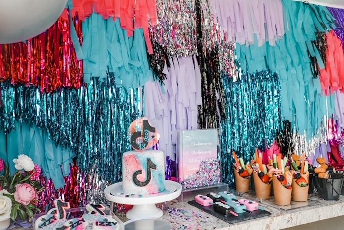 TikTok Themed Dessert Table from a TikTok Teen Birthday Party on Kara's Party Ideas | KarasPartyIdeas.com (16)