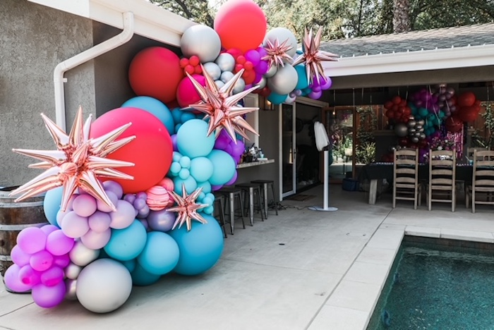 Colorful Balloon Garland from a TikTok Teen Birthday Party on Kara's Party Ideas | KarasPartyIdeas.com (12)