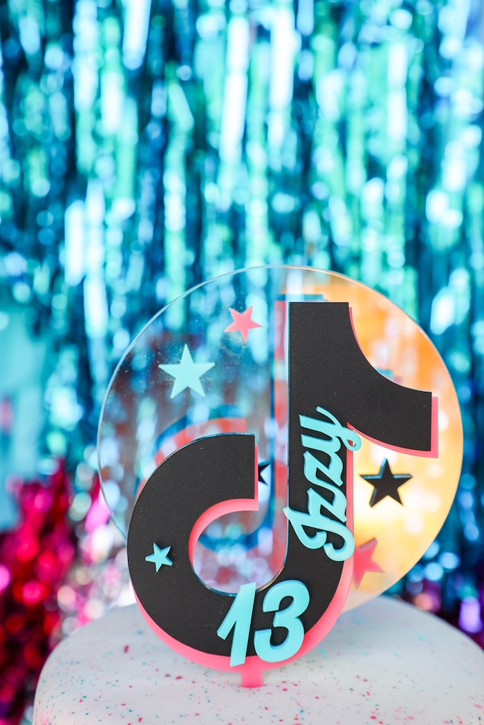 TikTok-inspired Cake Topper from a TikTok Teen Birthday Party on Kara's Party Ideas | KarasPartyIdeas.com (11)