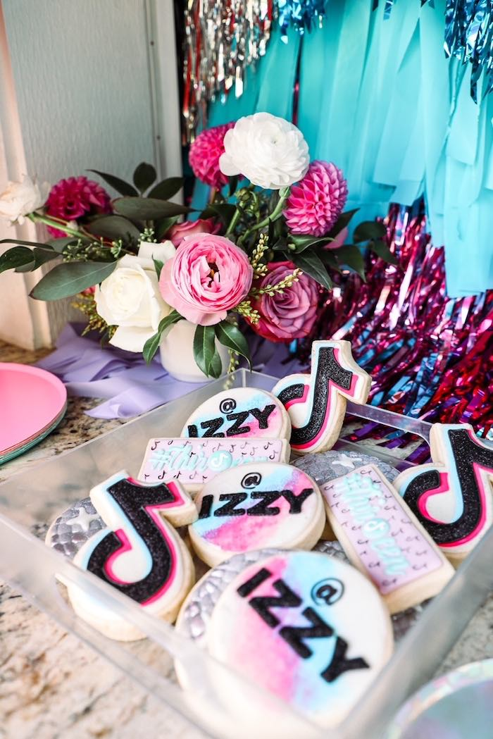 Custom Tik Tok Themed Cookies from a TikTok Teen Birthday Party on Kara's Party Ideas | KarasPartyIdeas.com (9)