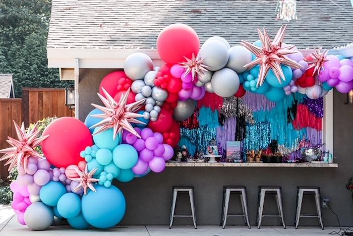 Balloon Install Dessert Spread from a TikTok Teen Birthday Party on Kara's Party Ideas | KarasPartyIdeas.com (4)