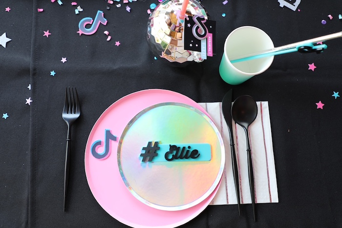 Personalized Iridescent Table Setting from a TikTok Teen Birthday Party on Kara's Party Ideas | KarasPartyIdeas.com (27)