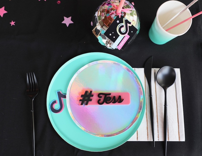 Personalized Iridescent Table Setting from a TikTok Teen Birthday Party on Kara's Party Ideas | KarasPartyIdeas.com (26)