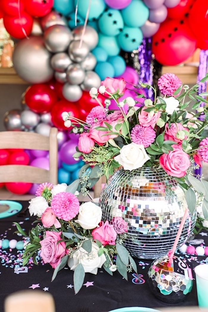 Disco Ball Floral Centerpiece from a TikTok Teen Birthday Party on Kara's Party Ideas | KarasPartyIdeas.com (25)