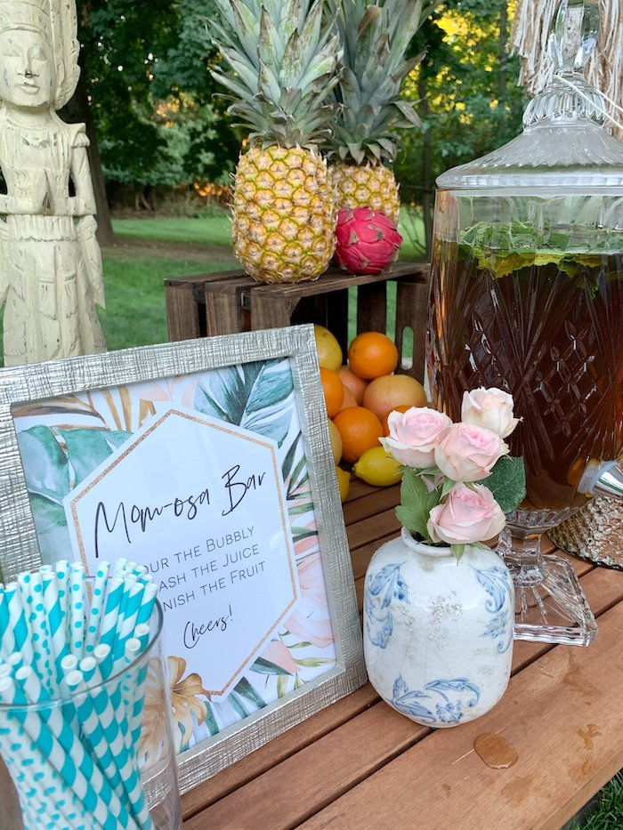 Momosa Bar from a Tropical Boho Baby Sprinkle on Kara's Party Ideas | KarasPartyIdeas.com (17)