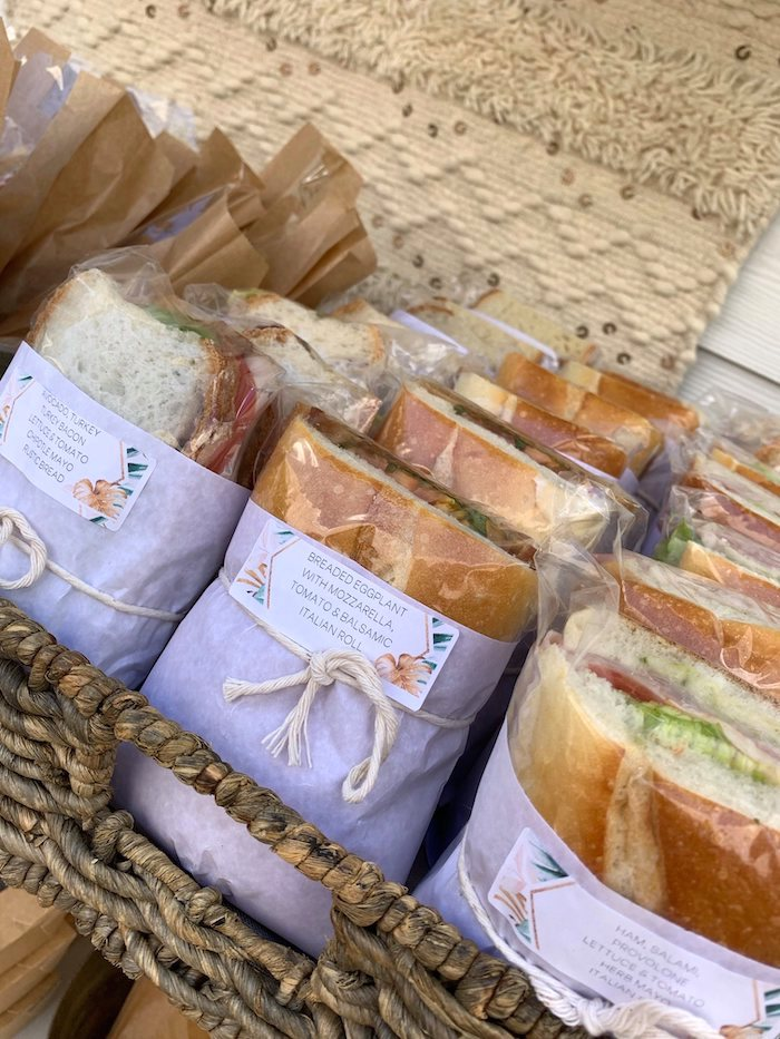 Wrapped Sandwiches from a Tropical Boho Baby Sprinkle on Kara's Party Ideas | KarasPartyIdeas.com (11)