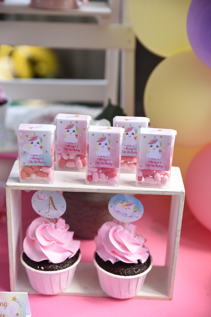 Unicorn-labeled Tic Tacs + Cupcakes from a Unicorns & Rainbows Birthday Party on Kara's Party Ideas | KarasPartyIdeas.com (12)