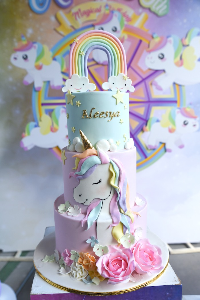 Unicorn Birthday Cake from a Unicorns & Rainbows Birthday Party on Kara's Party Ideas | KarasPartyIdeas.com (10)