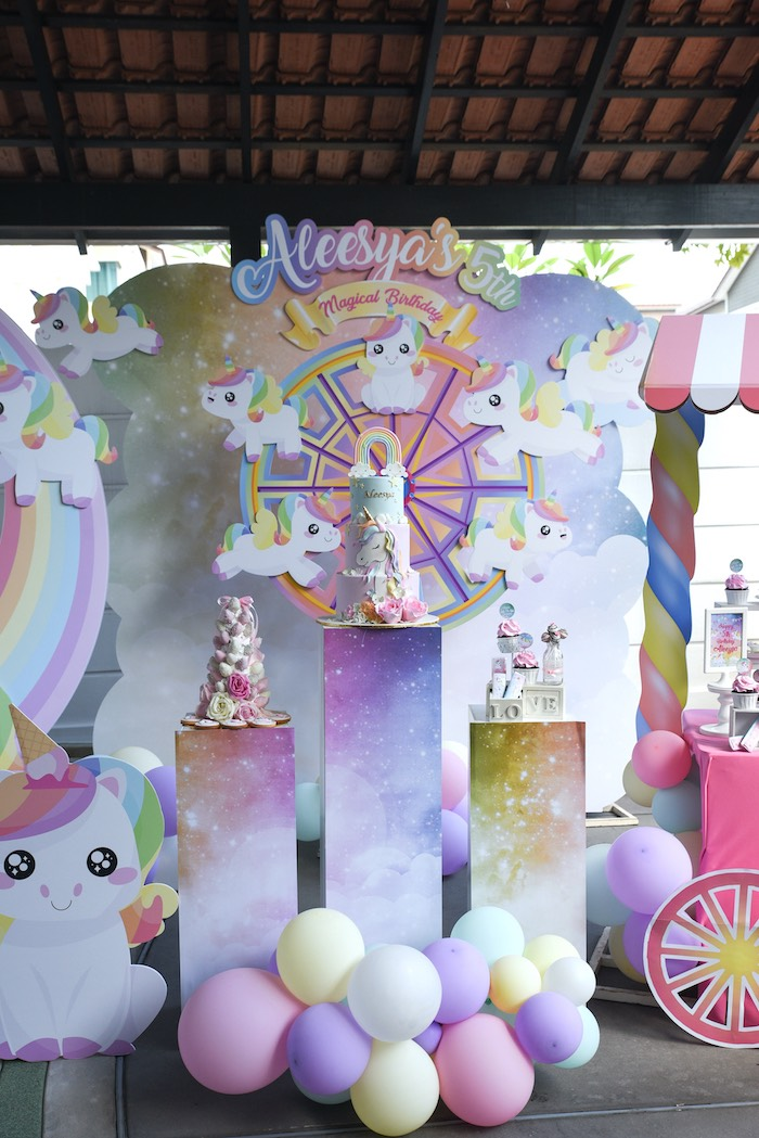 Unicorn Themed Dessert Spread from a Unicorns & Rainbows Birthday Party on Kara's Party Ideas | KarasPartyIdeas.com (9)