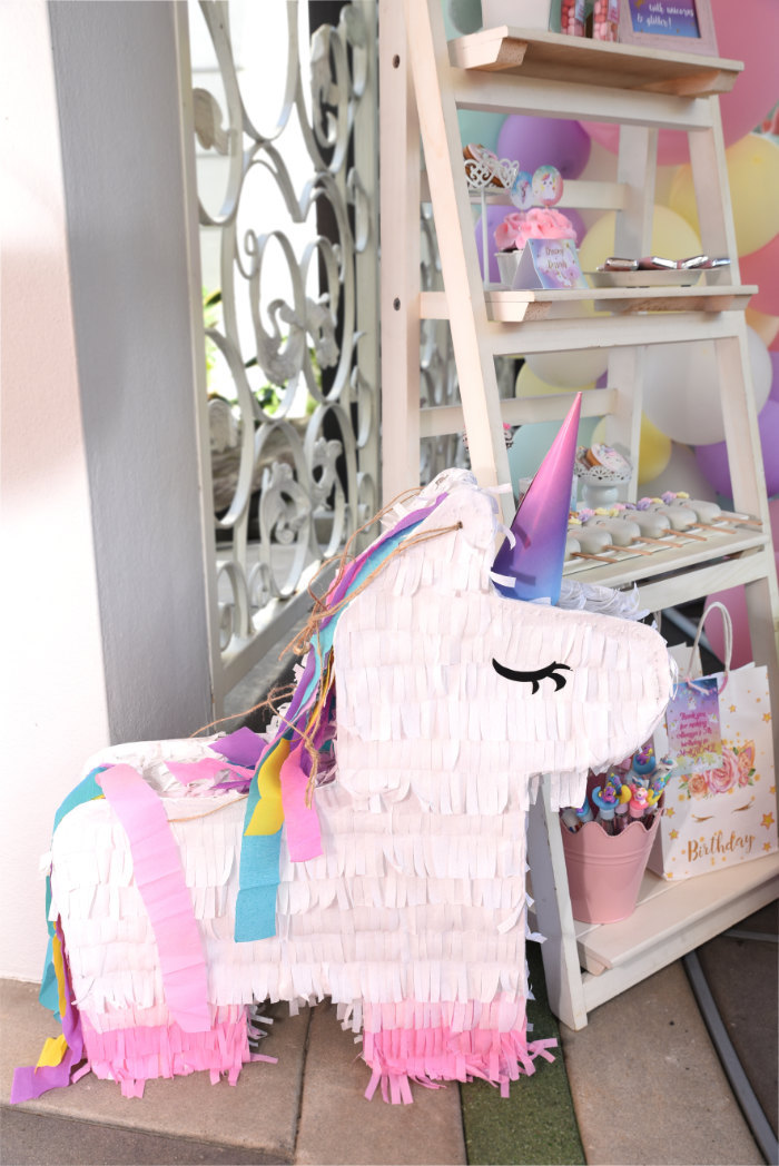 Unicorn Pinata from a Unicorns & Rainbows Birthday Party on Kara's Party Ideas | KarasPartyIdeas.com (5)