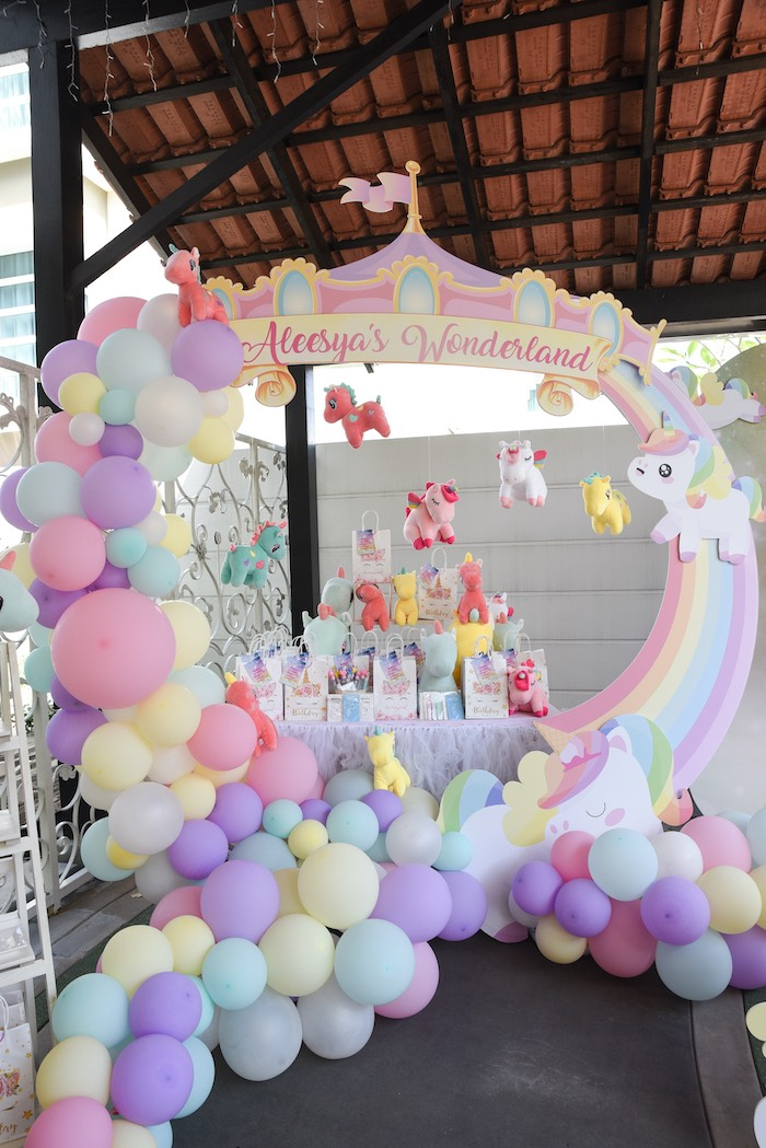 Unicorn Themed Party Favor Table from a Unicorns & Rainbows Birthday Party on Kara's Party Ideas | KarasPartyIdeas.com (21)