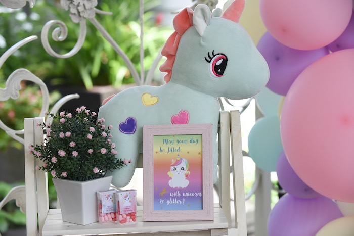 Unicorn Themed Party Decor from a Unicorns & Rainbows Birthday Party on Kara's Party Ideas | KarasPartyIdeas.com (19)