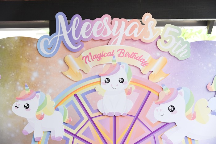 Unicorn Party Backdrop from a Unicorns & Rainbows Birthday Party on Kara's Party Ideas | KarasPartyIdeas.com (18)