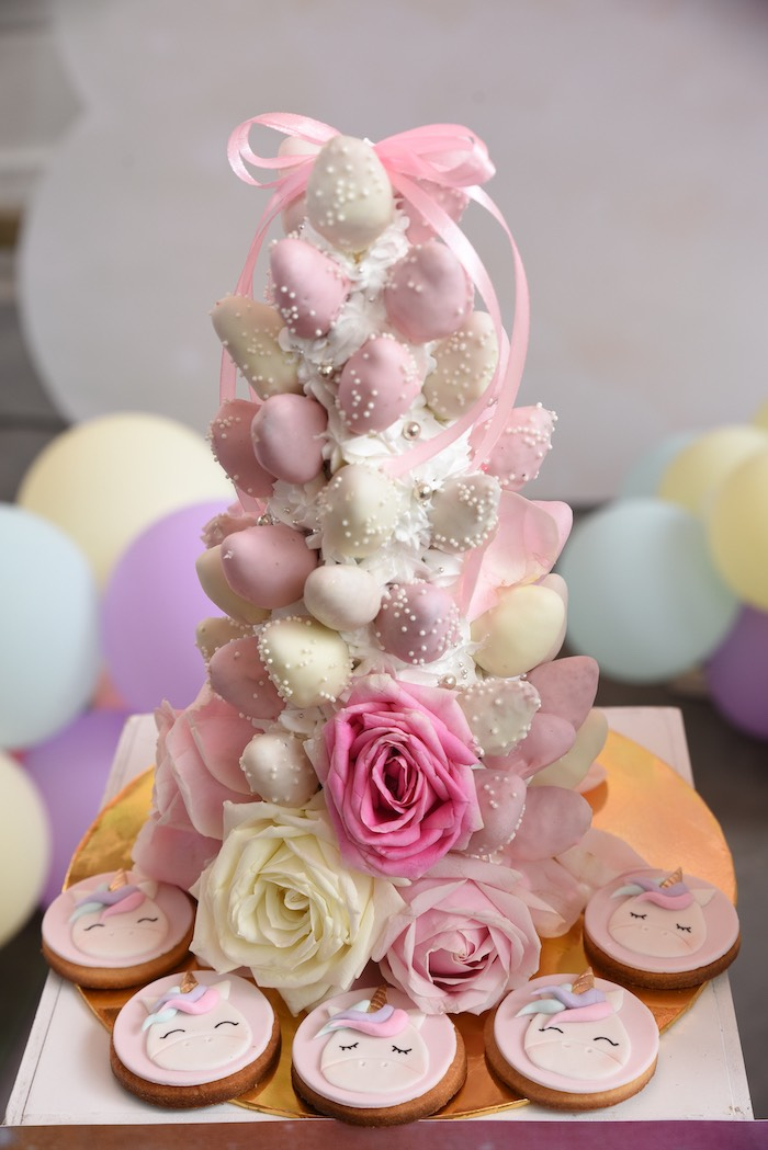 Dessert Tower from a Unicorns & Rainbows Birthday Party on Kara's Party Ideas | KarasPartyIdeas.com (17)