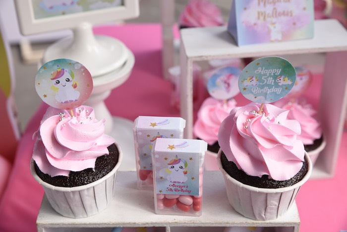 Unicorn Cupcakes from a Unicorns & Rainbows Birthday Party on Kara's Party Ideas | KarasPartyIdeas.com (14)