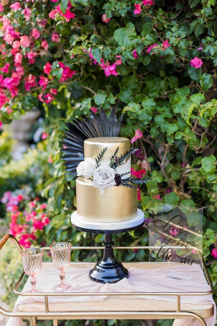 Gold Wedding Cake from a Vintage Modern Elegant Garden Wedding on Kara's Party Ideas   KarasPartyIdeas.com (26)