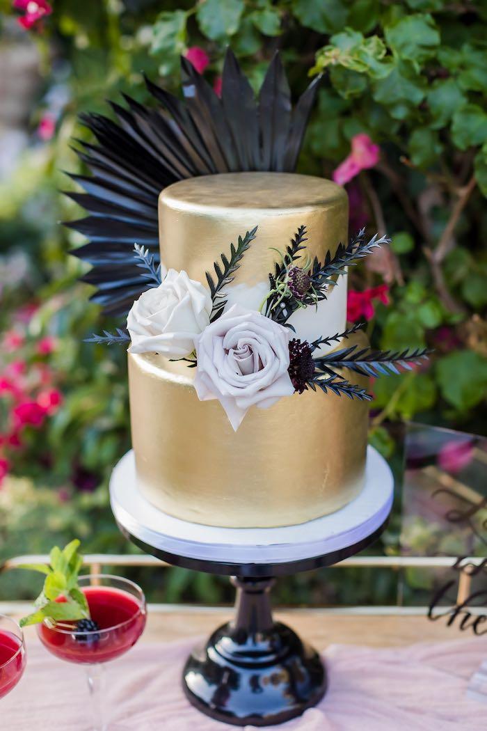 Gold Wedding Cake from a Vintage Modern Elegant Garden Wedding on Kara's Party Ideas   KarasPartyIdeas.com (25)
