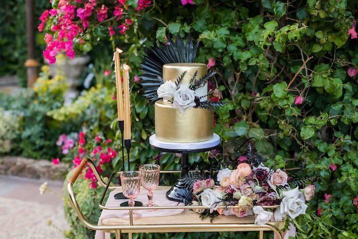 Gold Wedding Cake from a Vintage Modern Elegant Garden Wedding on Kara's Party Ideas   KarasPartyIdeas.com (12)