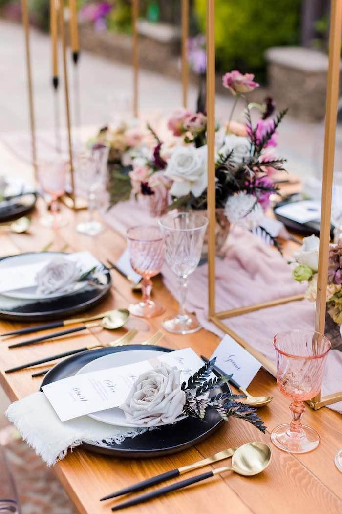 Wedding Guest Table Settings from a Vintage Modern Elegant Garden Wedding on Kara's Party Ideas   KarasPartyIdeas.com (4)