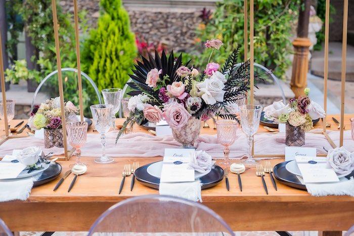 Wedding Guest Table from a Vintage Modern Elegant Garden Wedding on Kara's Party Ideas   KarasPartyIdeas.com (3)