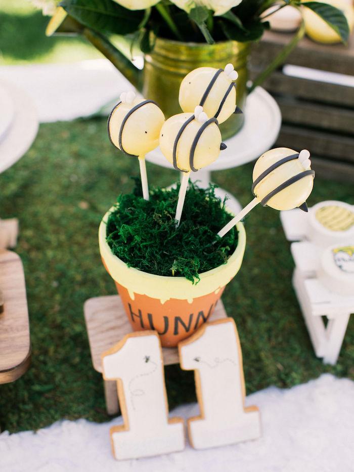Hunny Pot Bee Cake Pops from a Winnie the Pooh Backyard Party on Kara's Party Ideas | KarasPartyIdeas.com (22)
