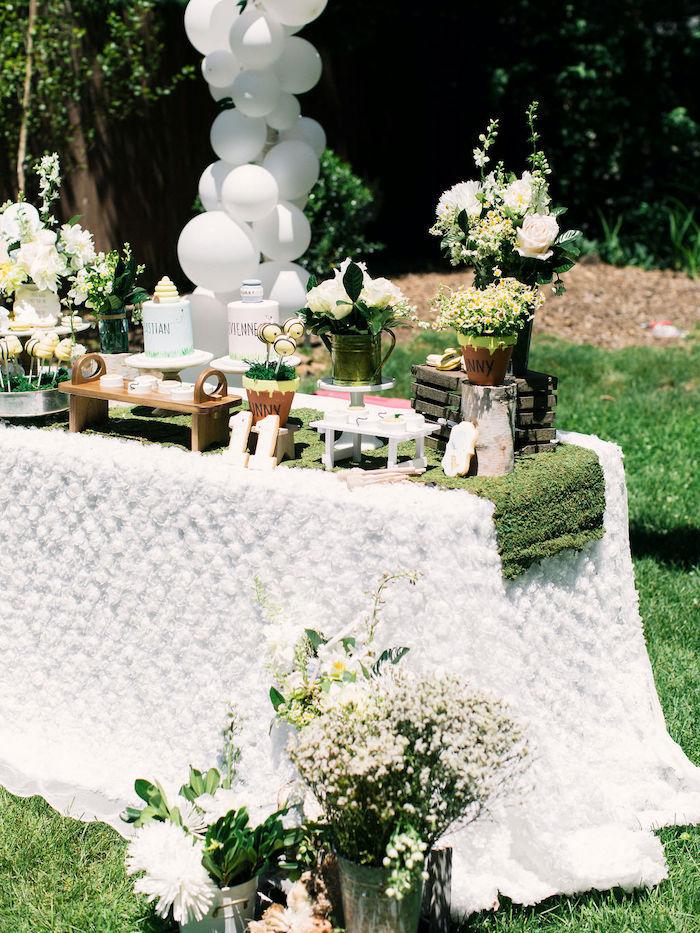 Garden Dessert Table from a Winnie the Pooh Backyard Party on Kara's Party Ideas | KarasPartyIdeas.com (16)