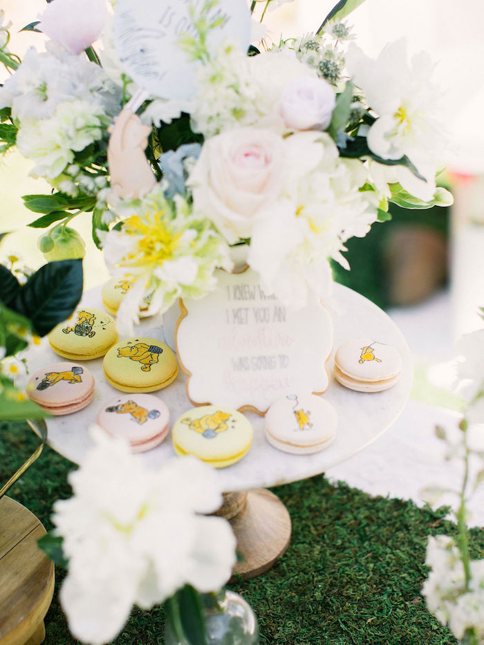 Winnie the Pooh-inspired Macarons from a Winnie the Pooh Backyard Party on Kara's Party Ideas | KarasPartyIdeas.com (35)