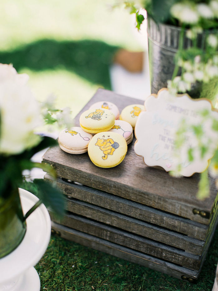 Winnie the Pooh Macarons from a Winnie the Pooh Backyard Party on Kara's Party Ideas | KarasPartyIdeas.com (30)