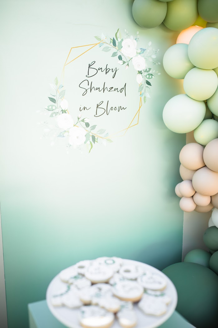 """Baby in Bloom"" Backdrop from a ""Baby in Bloom"" Outdoor Baby Shower on Kara's Party Ideas 