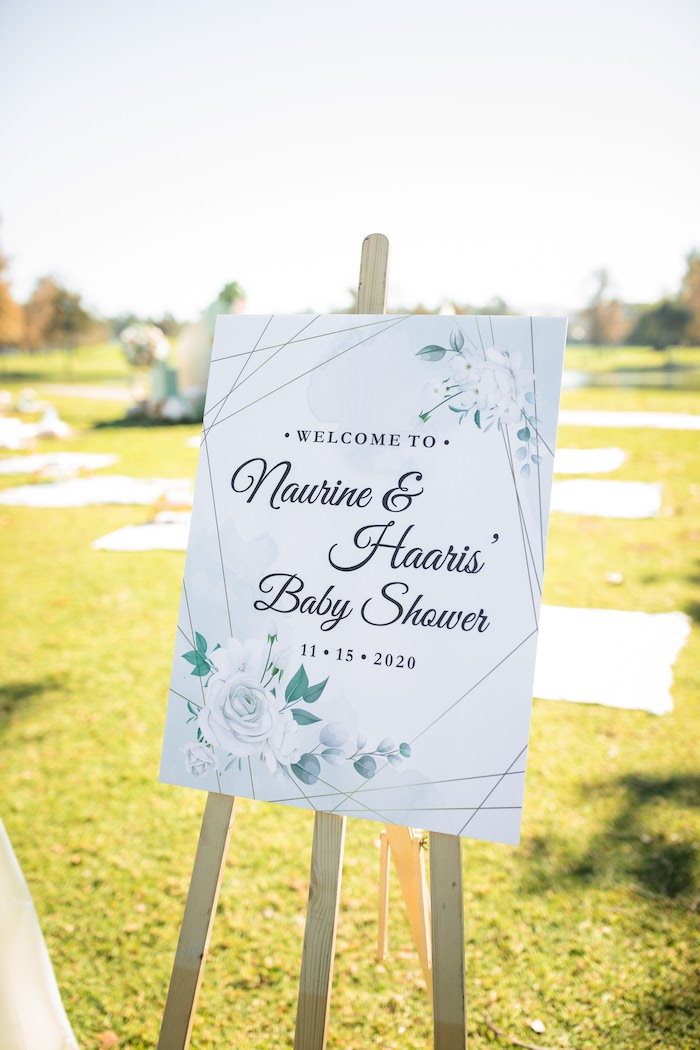 "Floral Welcome Sign from a ""Baby in Bloom"" Outdoor Baby Shower on Kara's Party Ideas 