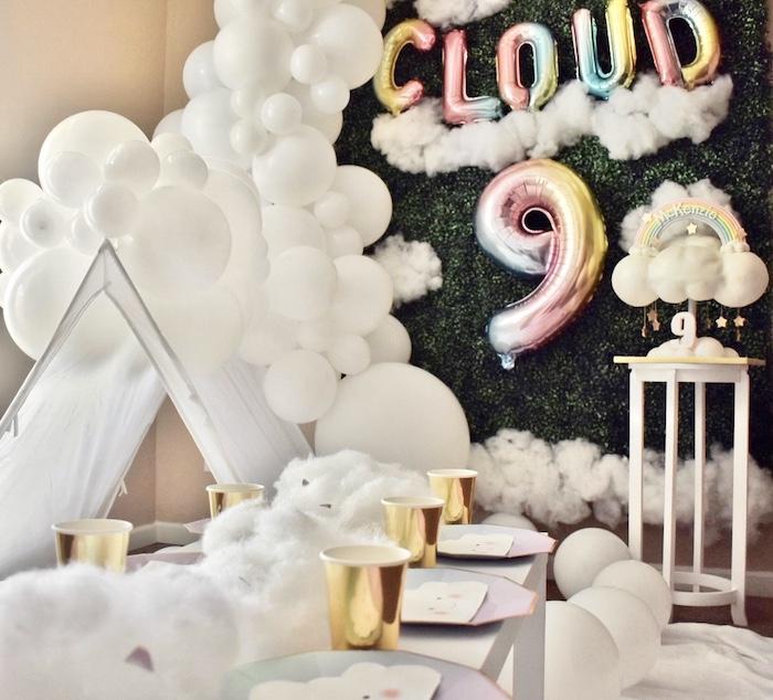"""Cloud Nine"" Rainbows & Clouds 9th Birthday Party on Kara's Party Ideas   KarasPartyIdeas.com (4)"