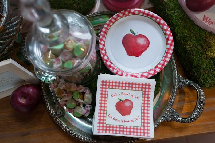 Apple Plates + Napkins from an Apple Orchard Birthday Party on Kara's Party Ideas | KarasPartyIdeas.com (49)