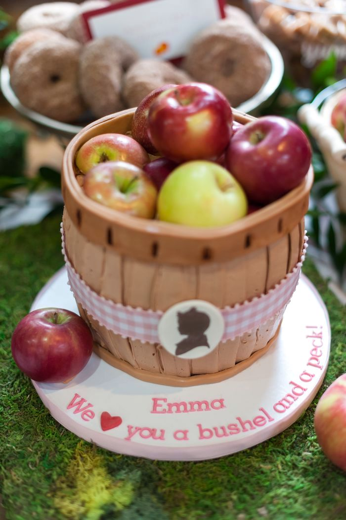Apple Basket Birthday Cake from an Apple Orchard Birthday Party on Kara's Party Ideas | KarasPartyIdeas.com (47)