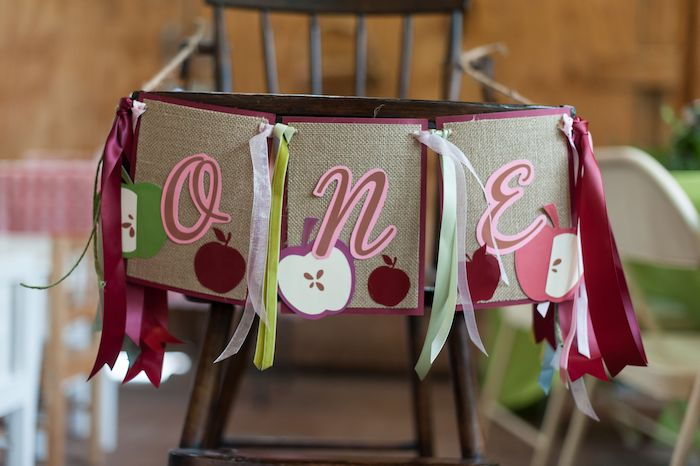 "Apple-inspired ""ONE"" Highchair Banner from an Apple Orchard Birthday Party on Kara's Party Ideas 