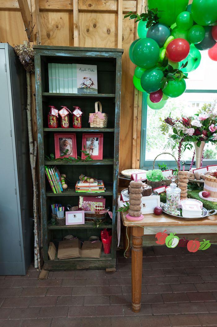 Favor Shelf from an Apple Orchard Birthday Party on Kara's Party Ideas | KarasPartyIdeas.com (34)