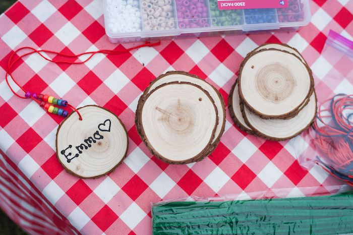 Wood Stump Necklace from an Apple Orchard Birthday Party on Kara's Party Ideas | KarasPartyIdeas.com (21)